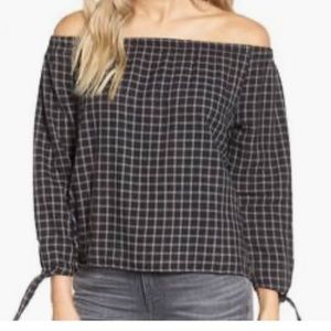 madewell gingham plaid off the shoulder top